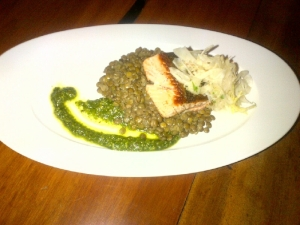 Salmon with Lentils and Apple Fennel Slaw