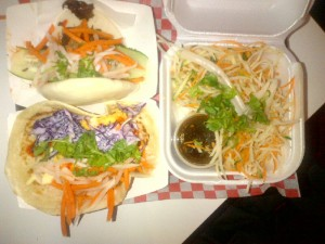 Tacos and Steamed Bun with Jicama Salad