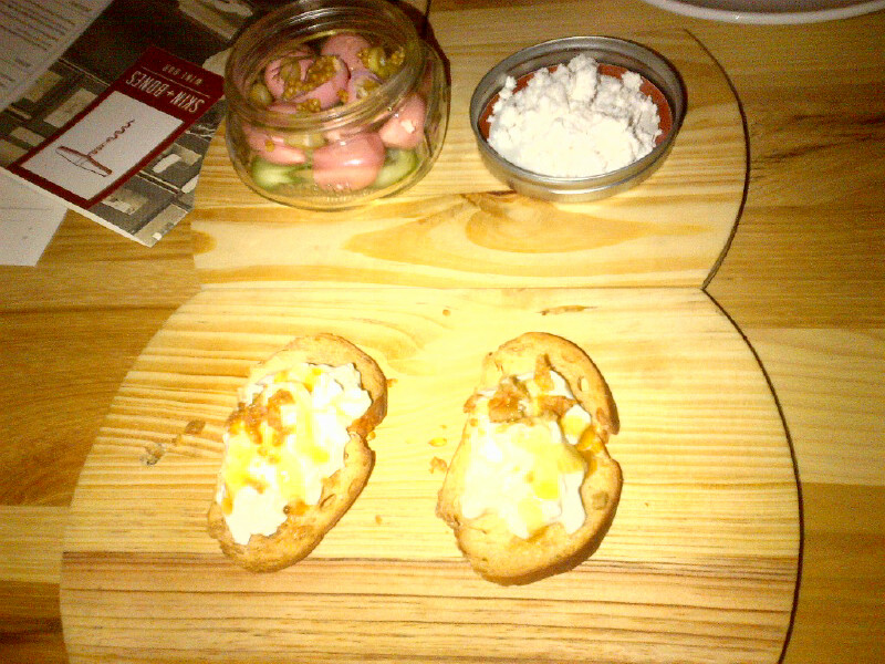 Burrata Crostini and Pickled Quail Eggs