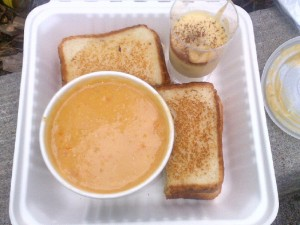 Pea Soup, Grilled Cheese and Banana Pudding