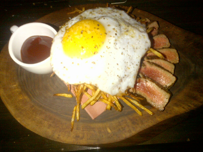 Flank Steak with Hickory Sticks and Duck Egg