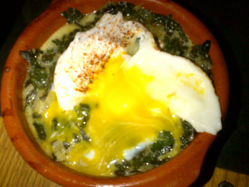 Swiss chard gratin with manchego and a poached egg ($9.50)