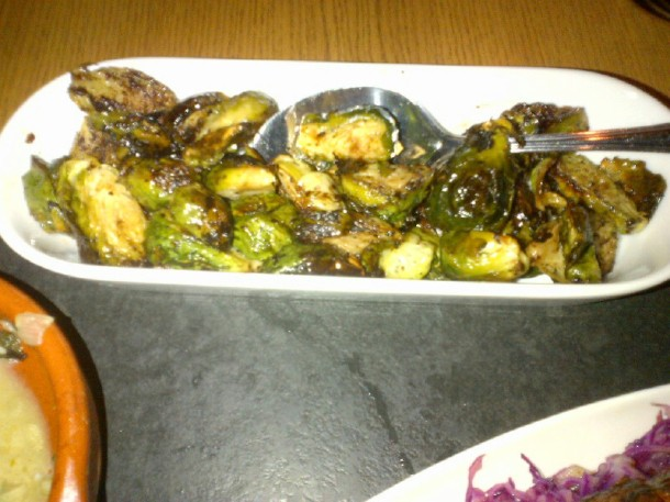 Brussel sprouts with black garlic ($8.95)