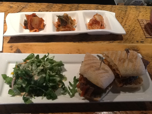 Kimchi Flight ($3.95) and Bulgogi Cheeseburger ($9.95)