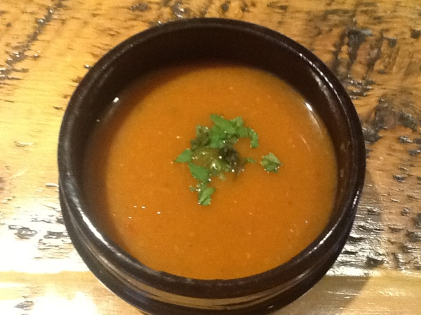 Pumpkin soup (served with cheeseburger)