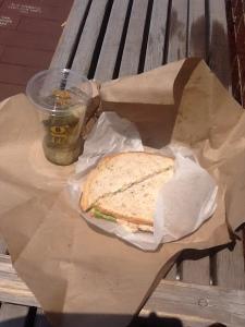 Chicken Waldorf Sandwich and Pickles