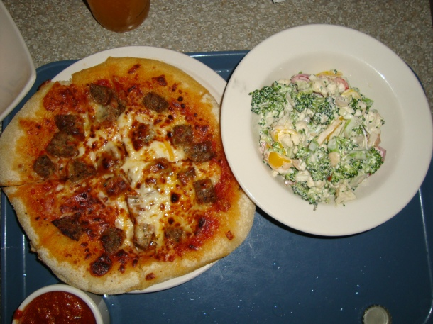 Personal Pizza with Broccoli Salad