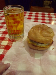 Billy Goat Tavern burger and Beer