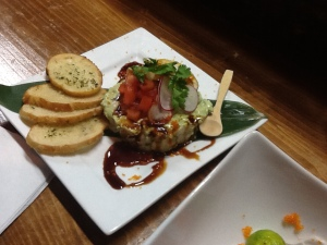 Red tuna & Black tiger prawn avocado tartar $10.80