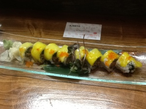 Spicy Chopped Tuna Mango Roll $9.80