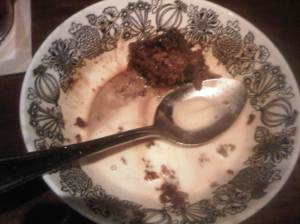 Fully eaten Sticky Toffee Pudding in my Granny's bowl