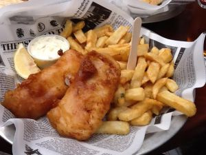 Haddock and chips in maple syrup batter $12