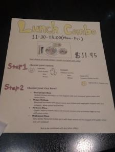Menu which got an A in art class