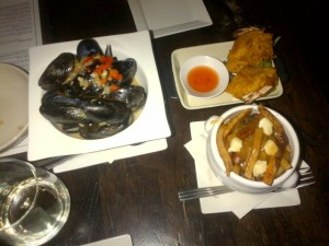 Cinq a Sept- Mussels, Shrimp Fritters and Pulled Pork Poutine ($5 each)
