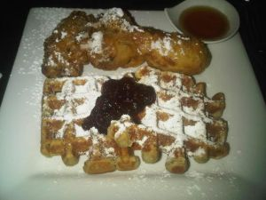 Yardbird with waffles and bourbon maple sugar $16