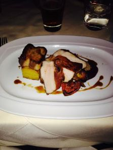 Pork Loin Entree with potato pave and root vegetables