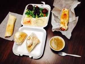 Appetizer platter $10.99, Lentil Soup $2.99, Shawarmas $4.49