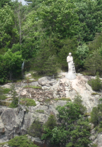 Statue of St. Lawrence beside the namesake river