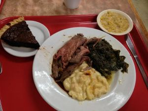 Roast Beef, Mac and Cheese, Turnip Greens, Creamed Corn and Hot Pepper Chocolate Pie.