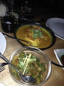 Boatman's fish and prawn curry $25.80 Bhindi bhaji 8.7