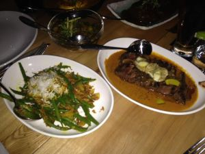 Madras Pepper Steak ($19.70) and French Beans ($9.80)