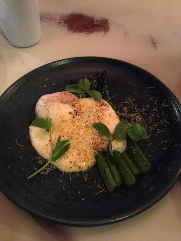 Asparagus with poached egg $11