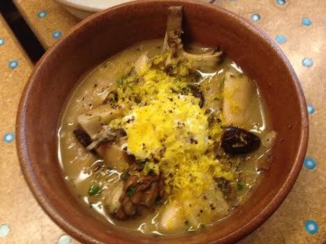 Mushroom farro spezzato with smoked egg $8
