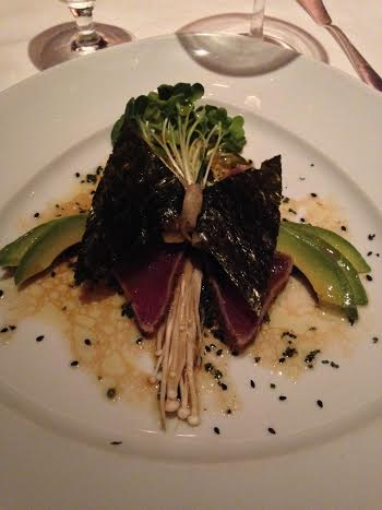 Seared Ahi Tuna with Avocado, Nori, Enoki Mushrooms and Lemon Soy Dressing