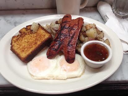 Louisiana Hot Link with eggs any style $9.50