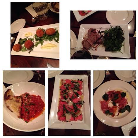 Arancini, Duck Liver Pate, Meatballs, beef carpaccio and burrata with proscutto.