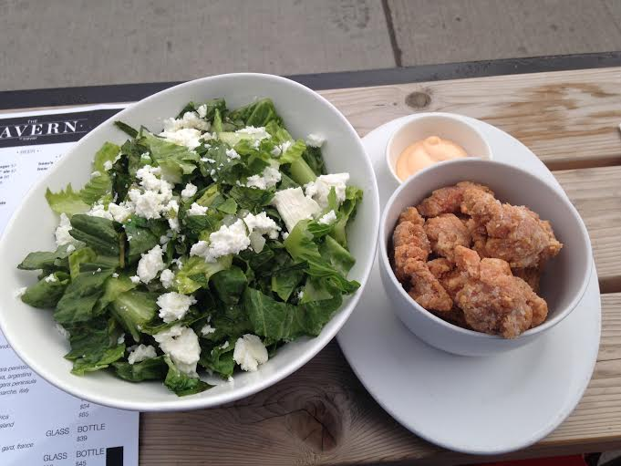 Green Pea with lettuce with feta and mint $10 with a side of ginger and garlic fried chicken $7