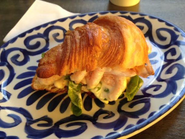 Shrimp salad on a crossiant