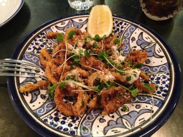 Crispy Squid Bandari Spice + Schug + Toum $13