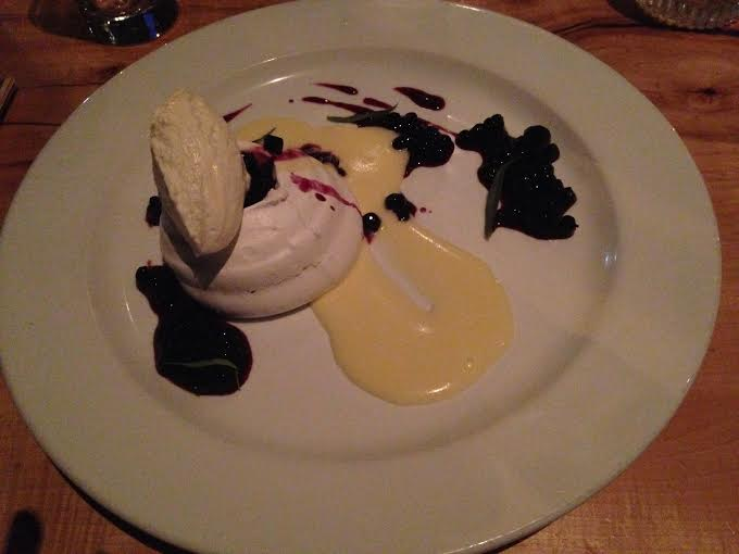Vanilla Pavlova with blueberry.lemon curd and tarragon