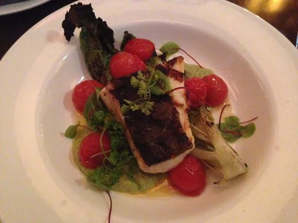 Halibut, grilled romaine, tomatillo salsa, chermoula 32