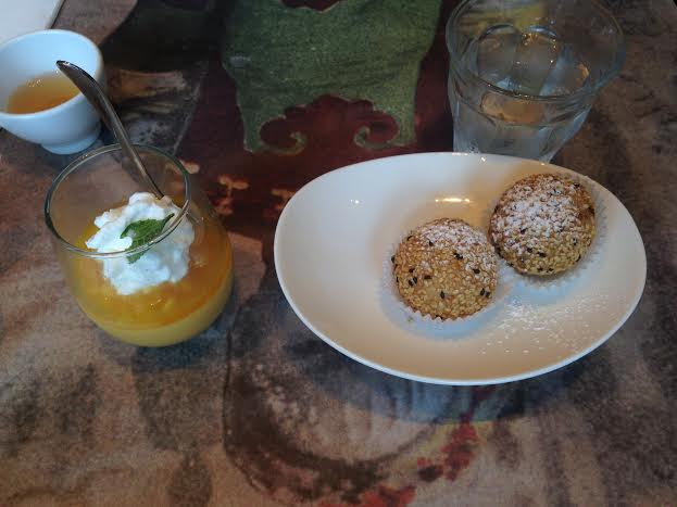 Mango and Passionfruit Panna Cotta $7 and Sesame Balls $4