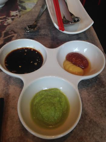 Luckee Condiments (Green onion, mustard/hot sauce and soy with sesame)