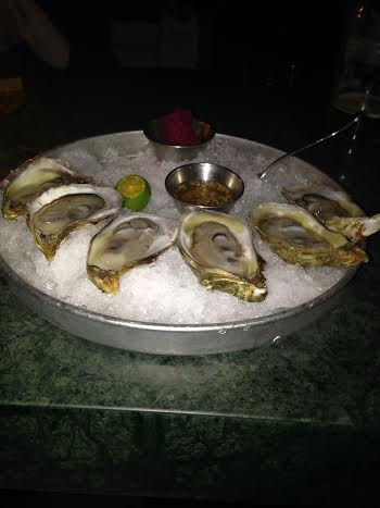 Oysters 6 for $15 served with lime, mignonette and beet horseradish