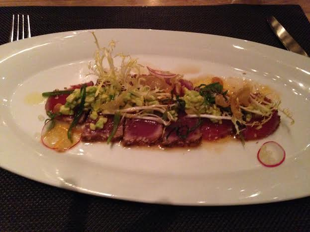Seared Yellow Fin Tuna with Yuzu Pearls