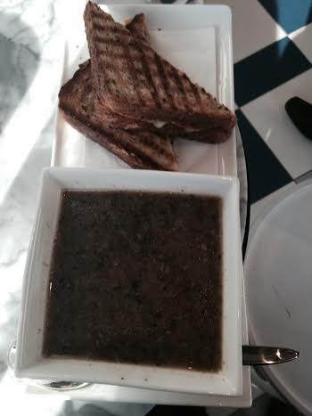Mushroom Soup and Grilled Cheese with Bacon Jam