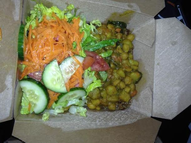 Veggy Delight with Rice/Peas and Slaw $9.50