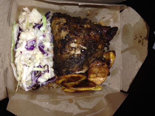 Jerk Chicken with Rice/Peas and Slaw $9.45