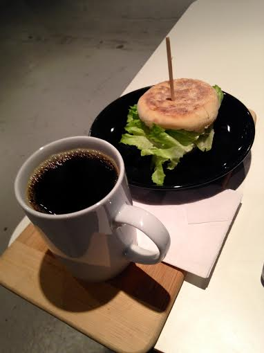 Salute Breakfast Sandwich and a Decaf Coffee