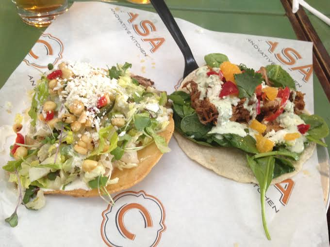 Pork Carnita Tostada ($5.75) and Rotisserie Duck Taco ($8.00)
