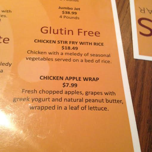 Glutin Free Menu
