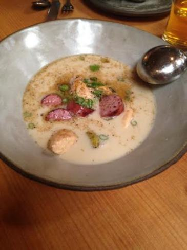 treasure chest of fermented sausage, trout quenelles and sweet onion-rice dumpling in a creamy pork broth.