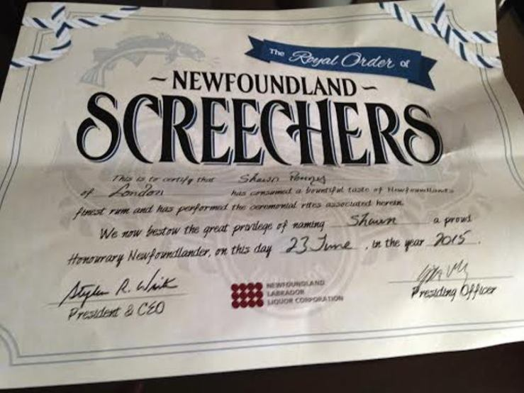 Certificate of Screeching-In