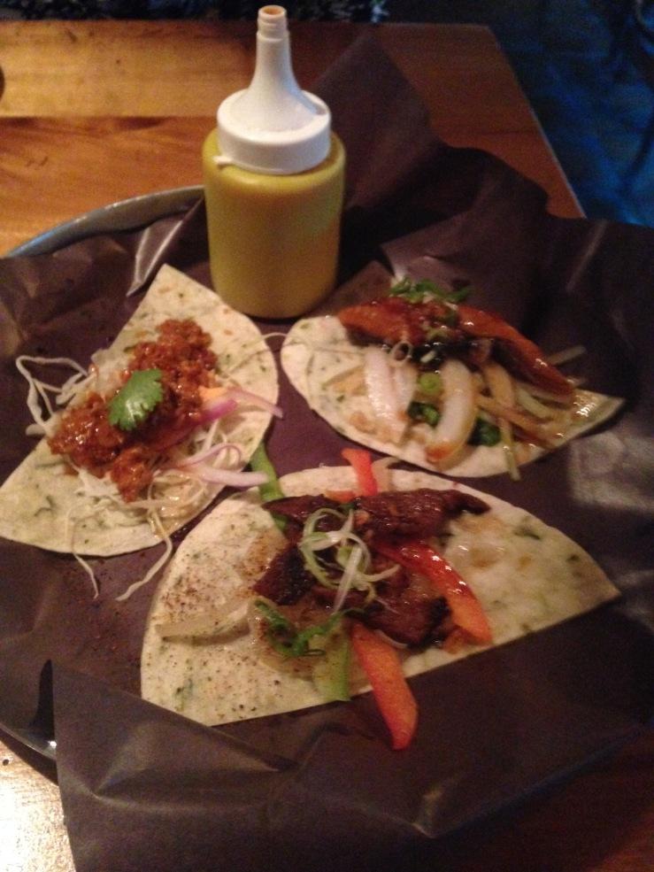 Spicy Pork, Kalbi and Unagi Tacos